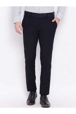 Antony Morato Men Blue Regular Fit Solid Formal Trousers