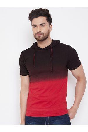 GRITSTONES Men Red Colourblocked Hood T-shirt