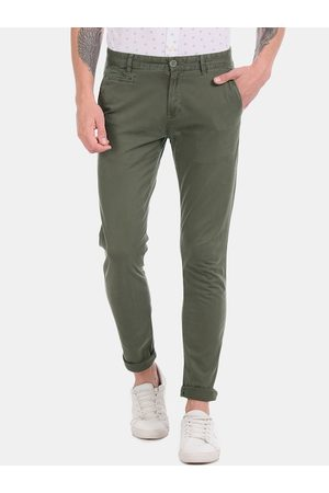 Aeropostale Men Olive Green Skinny Fit Solid Regular Trousers