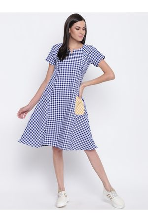 FABNEST Women Blue & White Checked A-Line Dress