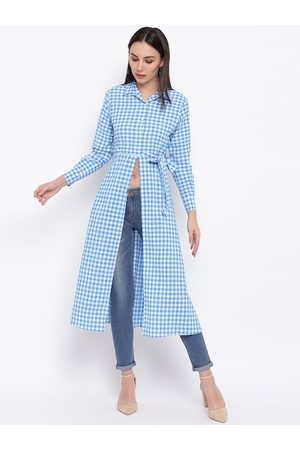 FABNEST Women Blue & White Checked Tunic