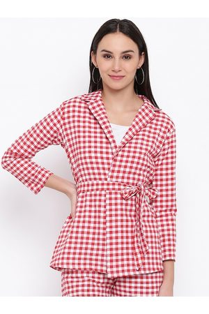FABNEST Women Red & White Checked Open Front Jacket