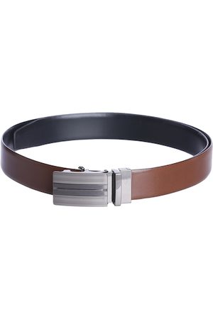 KARA Men Brown & Black Solid Reversible Leather Belt
