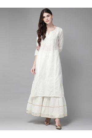 Juniper Women Off-White Embroidered Straight Kurta