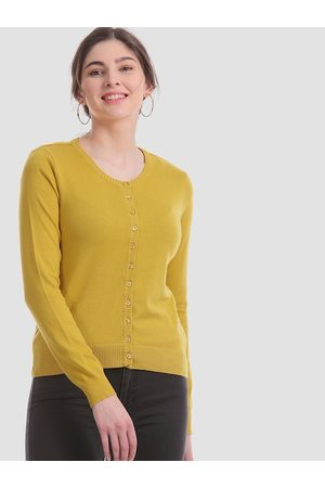 Aeropostale Women Mustard Yellow Solid Cardigan Sweater