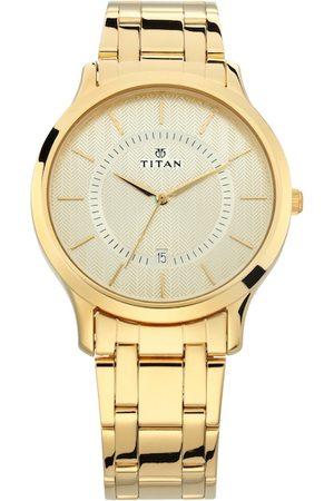 Titan Men Cream-Coloured Analogue Watch NM1825YM01