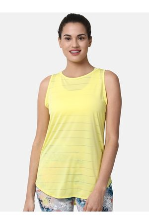 ENAMORA Women Yellow Self-Striped Workout Athleisure Tank Top with Attached Sports Bra
