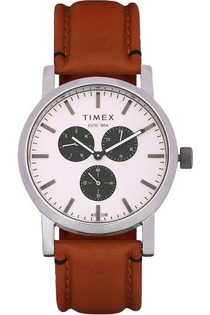 Timex Men Silver-Toned and Brown Analogue Watch