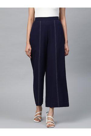 AURELIA Women Navy Blue Solid Wide Leg Palazzos