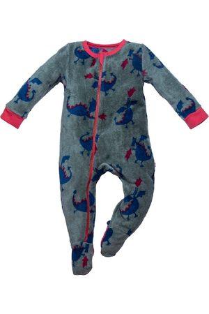 Nino Bambino Infant Boys Grey & Blue Printed Fleece Sleepsuit