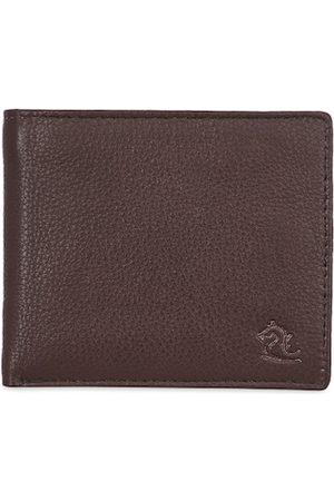 KARA Men Tan Brown Solid Leather Two Fold Wallet