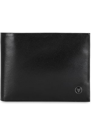 Van Heusen Men Black Solid Two Fold Leather Wallet