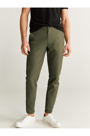 MANGO Men Olive Green Tapered Fit Solid Joggers