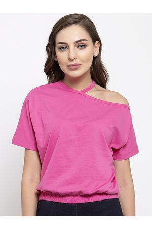 THE SILHOUETTE STORE Women Pink Solid Blouson Top