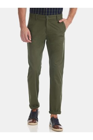 Ruggers Men Olive Green Slim Fit Solid Regular Trousers