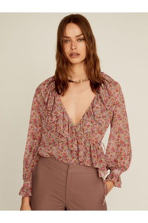 MANGO Women Dusty Pink & Green Floral Printed Ruffled Wrap Sustainable Top