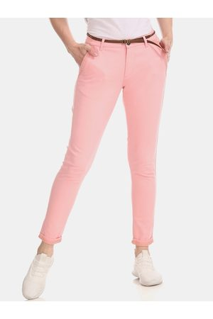 Cherokee Women Pink Solid Regular Trousers