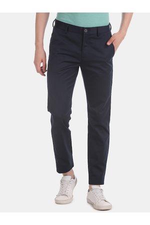 Ruggers Men Slim Trousers - Men Navy Blue Slim Fit Solid Regular Trousers