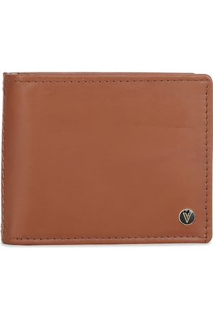 Van Heusen Men Brown Solid Leather Two Fold Wallet