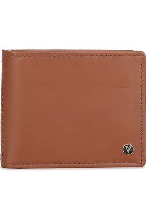 Van Heusen Men Wallets - Men Brown Solid Leather Two Fold Wallet