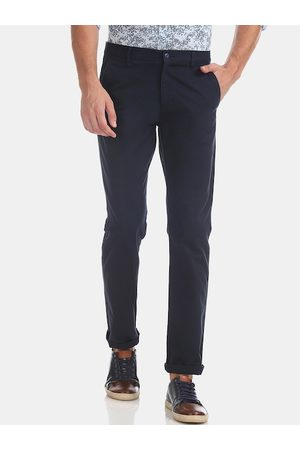 Ruggers Men Navy Blue Slim Fit Solid Regular Trousers