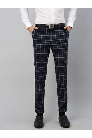 Blackberrys Men Navy Blue & White Narrow Fit Checked Formal Trousers