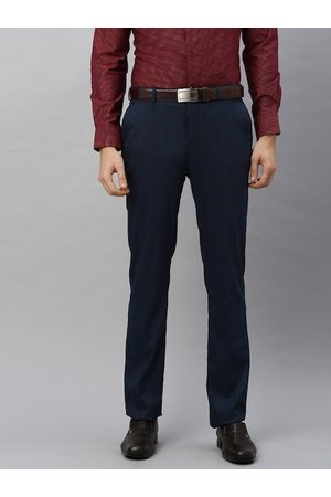 Blackberrys Men Navy Blue & Maroon Tapered Fit Checked Formal Trousers