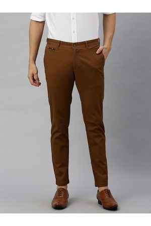 Blackberrys Men Brown Skinny Fit Self Design Regular Trousers