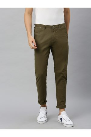 Blackberrys Men Olive Green Rafa Super Slim Fit Solid Regular Trousers