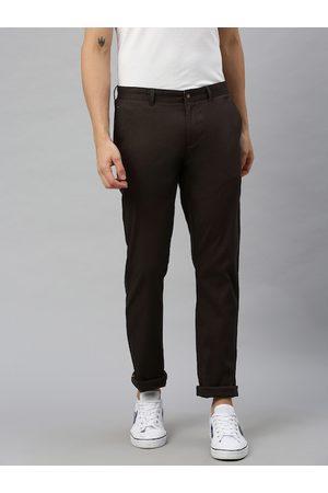 Blackberrys Men Brown Tapered Fit Self Design Regular Trousers