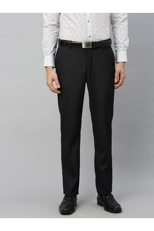 Blackberrys Men Black Regular Fit Self Design Formal Trousers