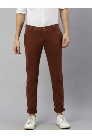 Blackberrys Men Brown Slim Fit Solid Regular Trousers