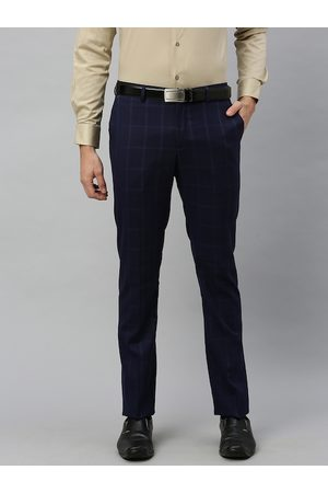 Blackberrys Men Navy Blue Tapered Fit Checked Formal Trousers