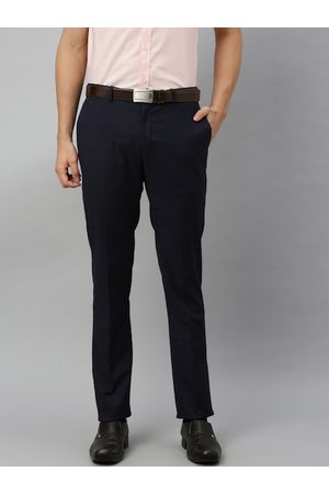 Blackberrys Men Navy Blue Skinny Fit Self Striped Formal Trousers
