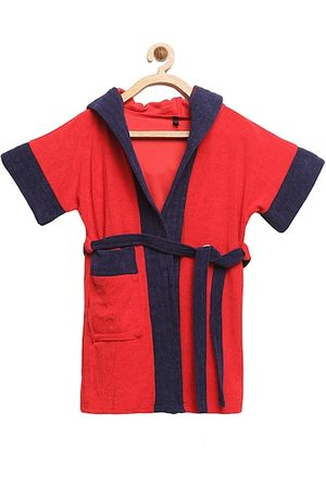 ELEVANTO Unisex Kids Red & Navy Blue Colourblocked BATHKIDOO Bath Robe