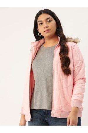 Sztori Women Pink Solid Hooded Plus Size Parka Jacket