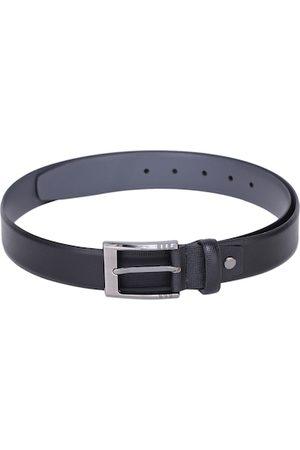 Alvaro Castagnino Men Black Checked Leather Belt
