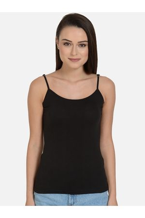 mod & shy Women Black Solid Non-Padded Camisole