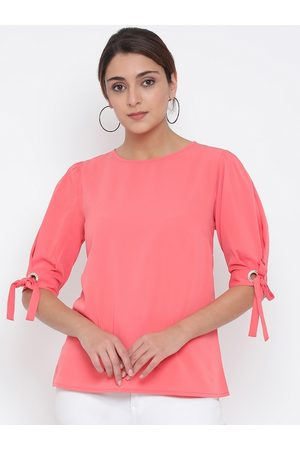 Oxolloxo Women Pink Solid Tie-Up Sleeves A-Line Top