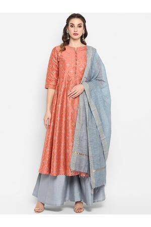 Janasya Women Peach & Grey Floral Print Anarkali Kurta with Palazzos & Dupatta
