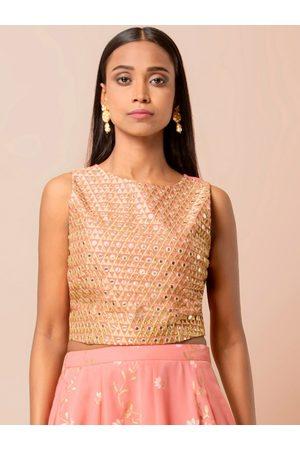 INDYA Women Pink & Beige Mirror Work Embellished Crop Top