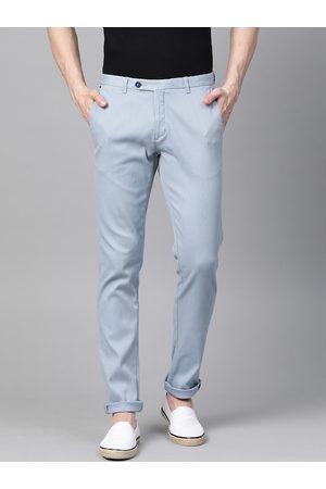 Blackberrys Men Blue Slim Fit Self-Striped Regular Trousers