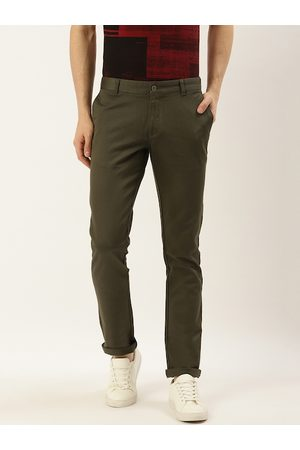 Blackberrys Men Olive Green Slim Fit Solid Regular Trousers