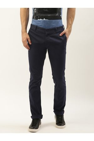 Blackberrys Men Navy Blue Slim Fit Solid Regular Trousers