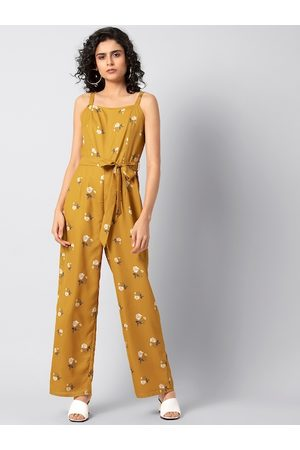 FabAlley Women Mustard Yellow and Off-White Printed Basic Jumpsuit