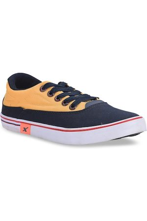 Sparx Men Navy Blue & Yellow Colourblocked Sneakers
