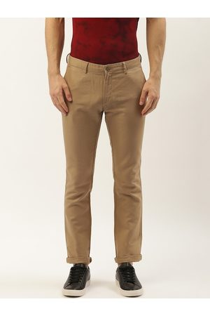 Blackberrys Men Khaki Skinny Fit Solid Regular Trousers