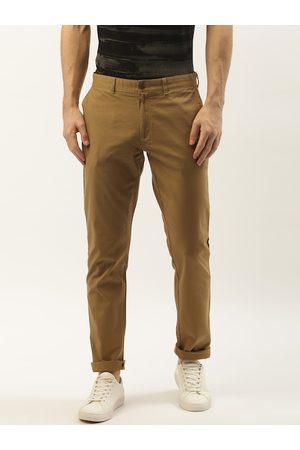 Blackberrys Men Khaki Skinny Fit Solid Regular Trousers
