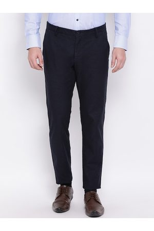 Bruun & Stengade Men Navy Blue Slim Fit Striped Regular Trousers