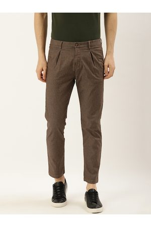 Blackberrys Men Brown & Black Super Slim Fit Striped Regular Trousers